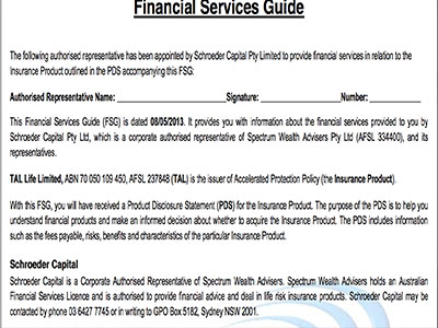 Financial services guide sheet